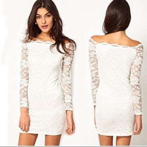 ASOS white floral lace long sleeve dress